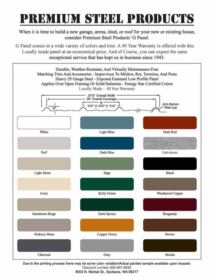 Metal Steel Color Chart