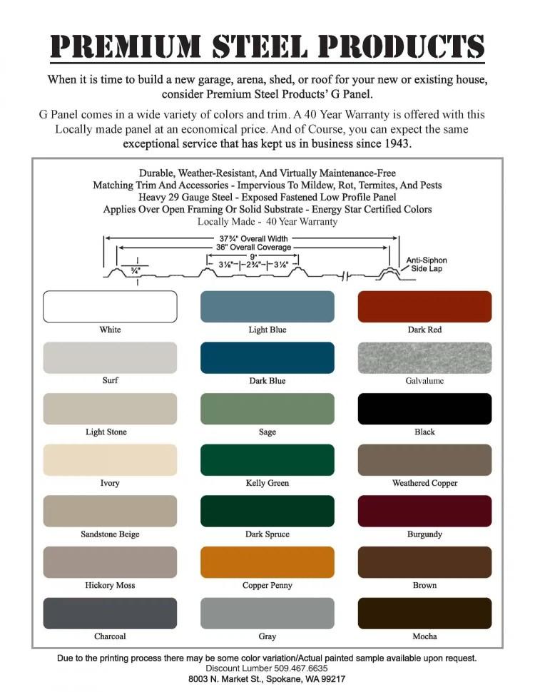 Metal Steel Color Chart