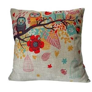 Decorative Owl Linen Pillow On...