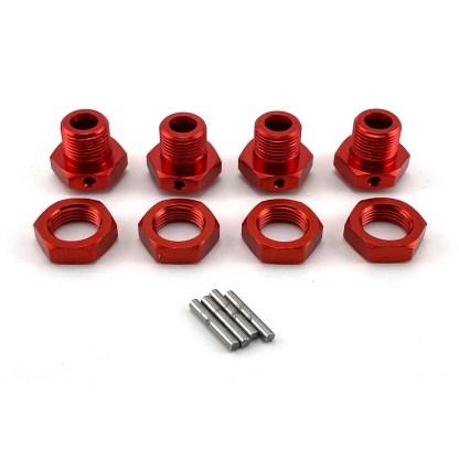 Arrma Typhon V3 4X4 Mega 17mm Red Aluminum Metal Wheel Hex Set w/ Pins