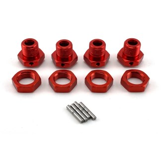 Arrma Typhon V3 4X4 Mega 17mm Red Aluminum Metal Wheel Hex Set w/ Pins