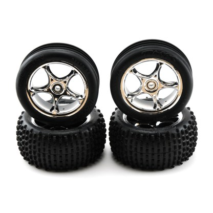 Traxxas Bandit XL-5 Factory Mounted Tracer Chrome Wheels and Alias Tires