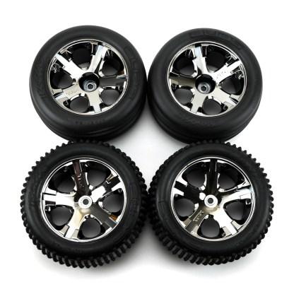 Traxxas Rustler 2WD VXL Black Chrome Wheels & Alias Tires Factory Mounted