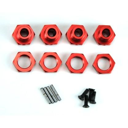 Arrma Typhon V3 4X4 3S BLX 17mm Red Aluminum Metal Wheel Hex Set w/ Pins/Screws