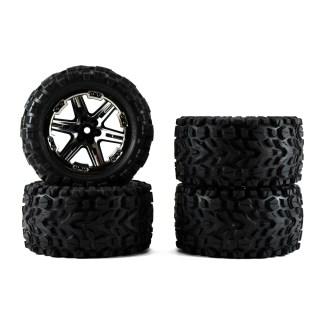 Traxxas Rustler 4X4 VXL Black Chrome Wheels & Tires Talon Extreme Glued 6773X