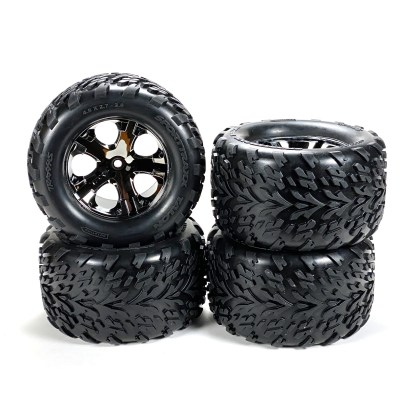 Traxxas Stampede 2WD VXL Factory Glued All-Star Black Chrome Wheels Talon Tires