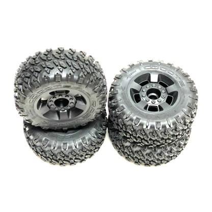 Arrma Big Rock 3S BLX 4X4 Wheels & Tires DBOOTS 'RAGNAROK MT' Black Glued