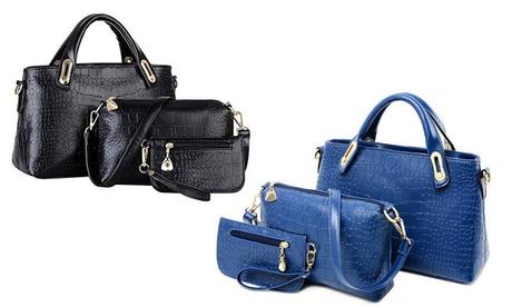Crocodile-Pattern Tote Bag Set