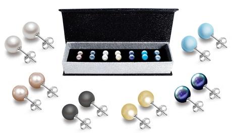 Women's Set of 7 Pearl Earrings