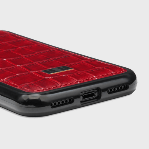 Gold Black iPhone X Case Croco Red Price in Qatar and Doha