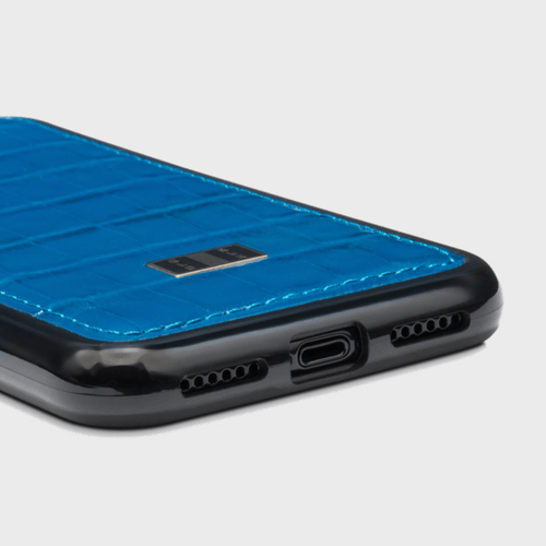 Gold Black iPhone X Case Croco Blue Price in Qatar