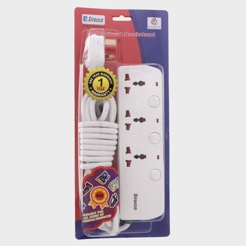 Sirocco Extension Cord 3Way 4Mtr W03S Price in Qatar