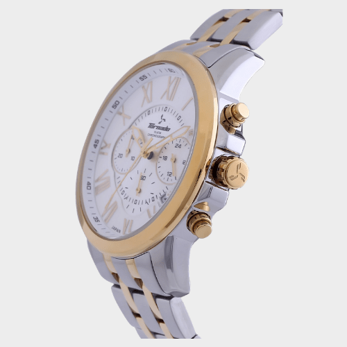 Tornado Men's Chronograph Watch White Dial Two Tone Band T6103-TBTW price in Qatar lulu