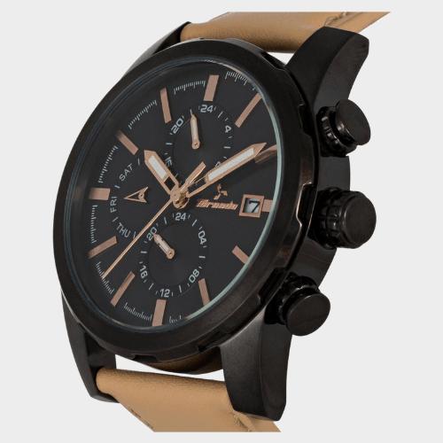 Tornado Men's Multi-Function Black Dial Leather Band Watch- T5193-BLCB price in Qatar lulu