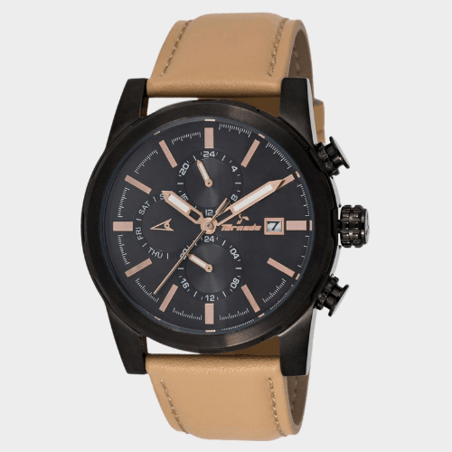 Tornado Men's Multi-Function Black Dial Leather Band Watch- T5193-BLCB price in Qatar
