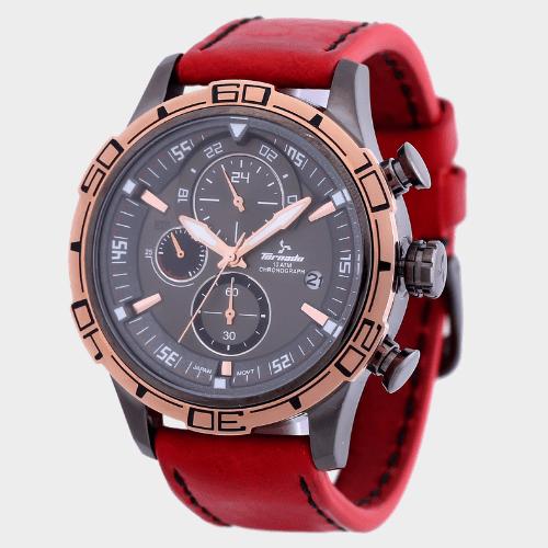 Tornado Men's Chronograph Watch Grey Dial Leather Band T5120-XLRXK price in Qatar
