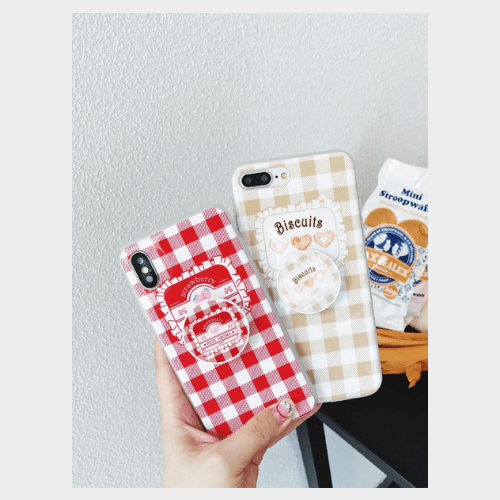 Beige Lattice Pattern Cartoon Style Case Price in Qatar jollychic