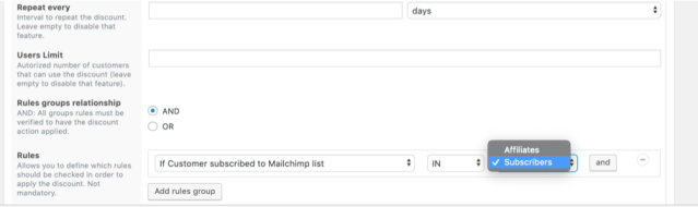 Chosen Rule for MailChimp Subscribers