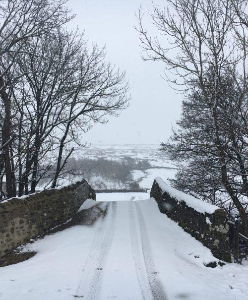 Snow on a brick bridge