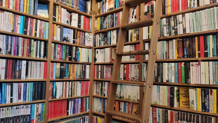 A brown ladder leans against colourful bookshelves at Toppings Bookshop