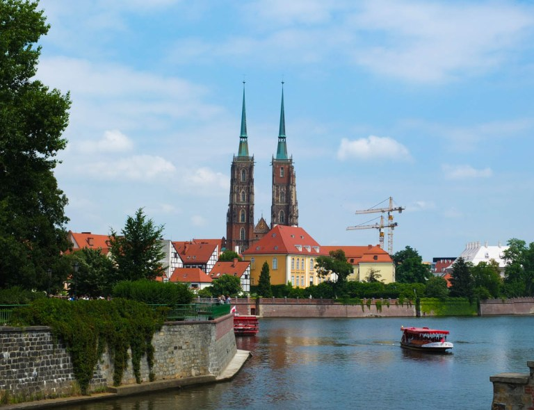 The island of Ostrow Tumski. The Cathedral of St John the Baptist towers rise in the background.