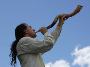 Josh blowing shofar
