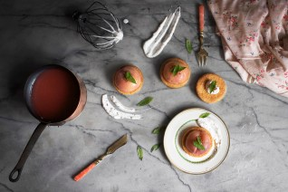 Poached peach verbena tartlets