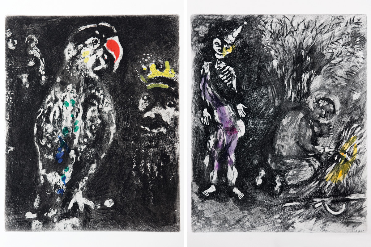 Chagall-Fables-two-parrots-death-woodsman