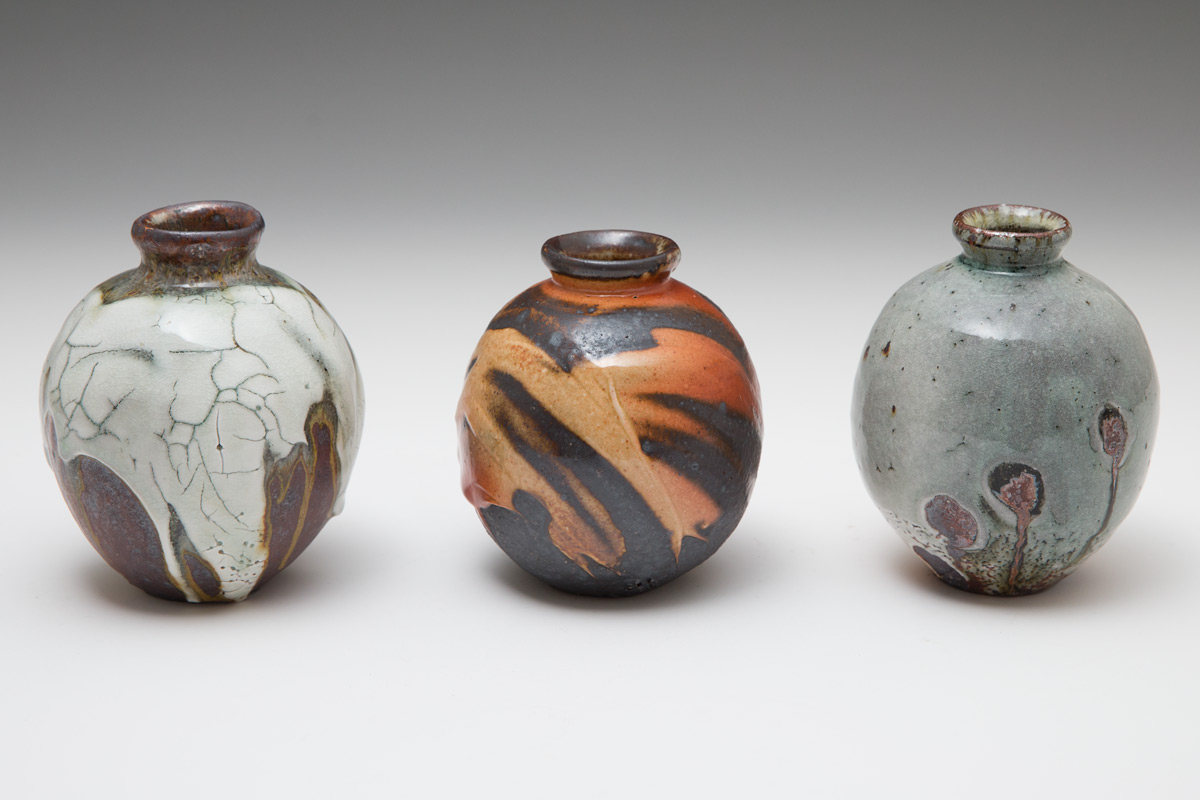 Three Lisa Hammond mini tsubo vases