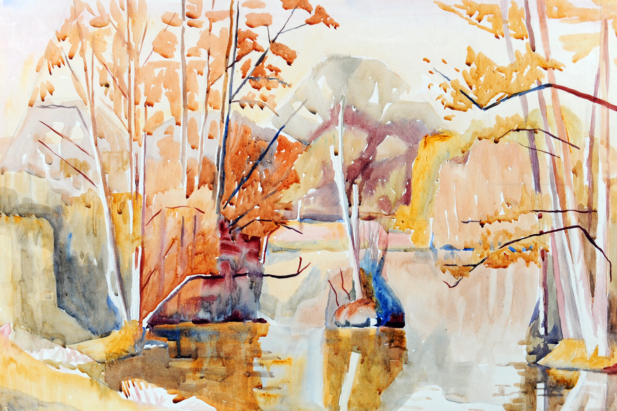 Claude-Flight-Edith-Lawrence-Watercolours-Autumn-Lake