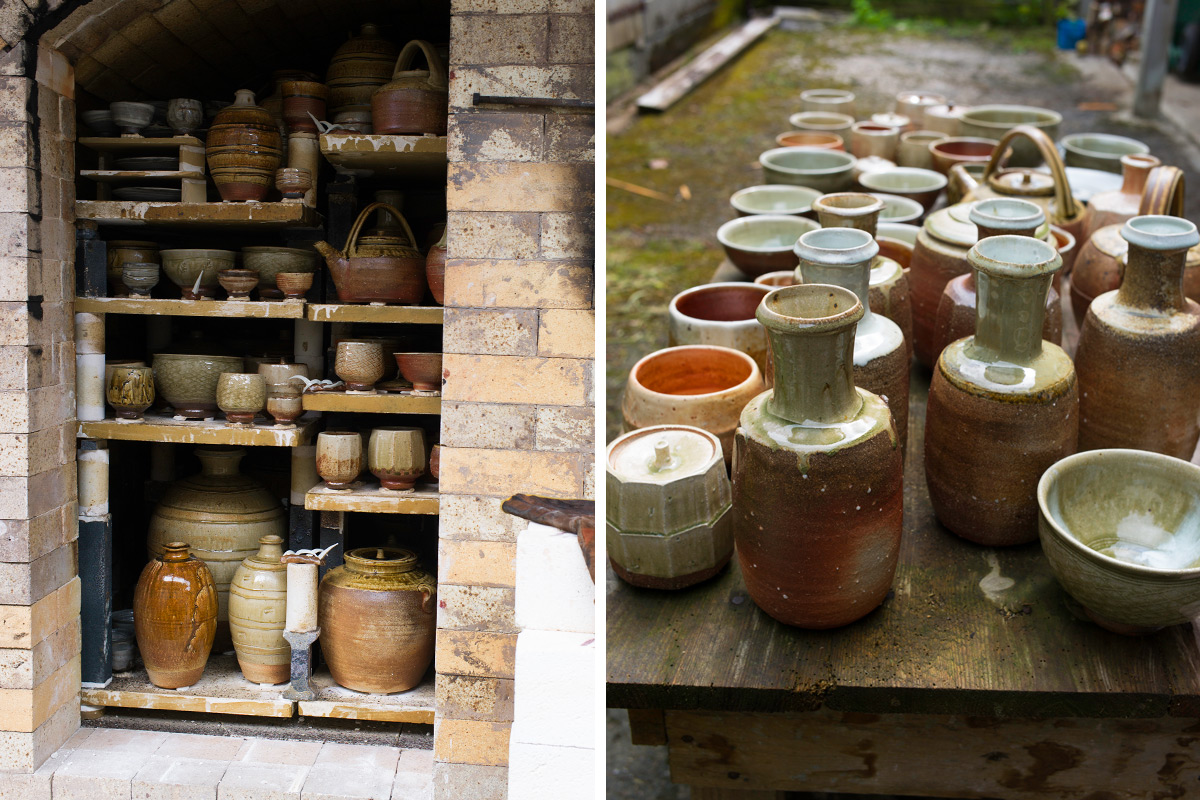 Phil-Rogers-Firing-Wood-Kiln-Pots-Unpacked-On-Table