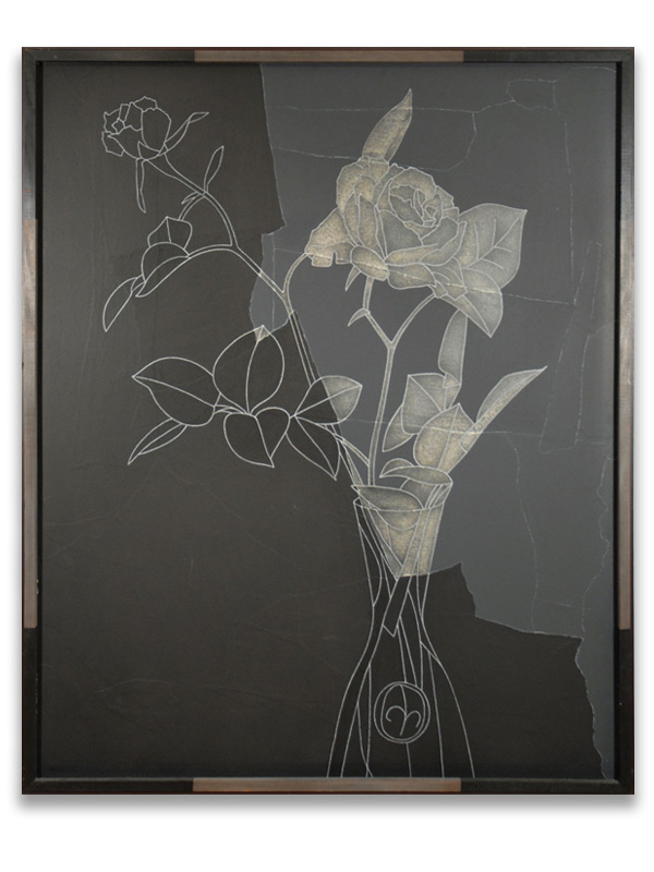 derrick-greaves-rose-black-and-white-oil-painting