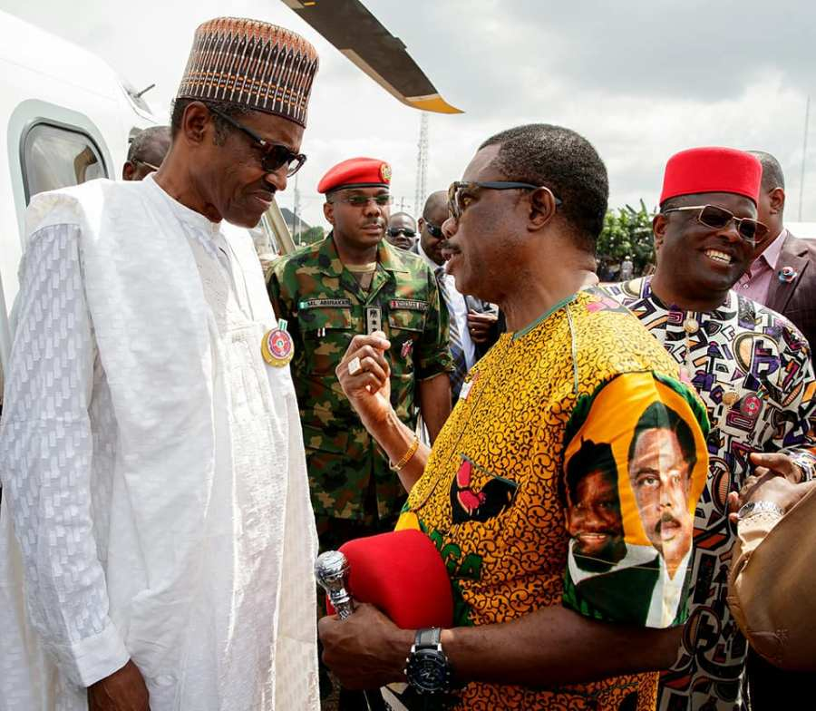 Obiano complained to Buhari about removal of his security details . credit/State House
