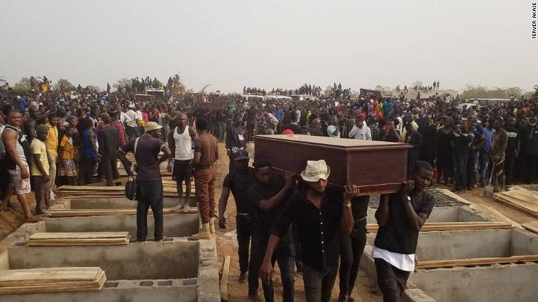 In Benue State Nigeria, Buhari government mass-buried 70 persons killed by Fulani herdsmen in the wake of the New Year. Photo/CNN