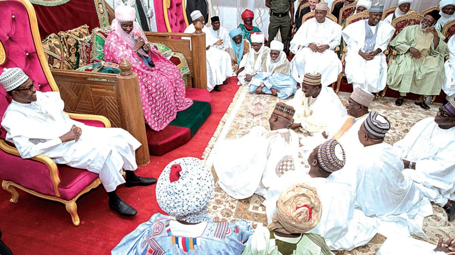 President Muhammadu Buhari, Emir of Kano, Muhamadu Sanusi II; Kano State Governor Abdullahi Ganduje; Senate President Bukola Saraki; Speaker of the House of Representatives, Yakubu Dogara; former head of state, Gen. Abdulsalami Abubakar and others dignitaries during the wedding Fatiha of Fatima, daughter of Alhaji Aliko Dangote (sitting in front), and Jamil, son of former Inspector General of Police, Mohammed Abubakar, in Kano… yesterday PHOTO: CALLISTUS EWELIKE/NAN