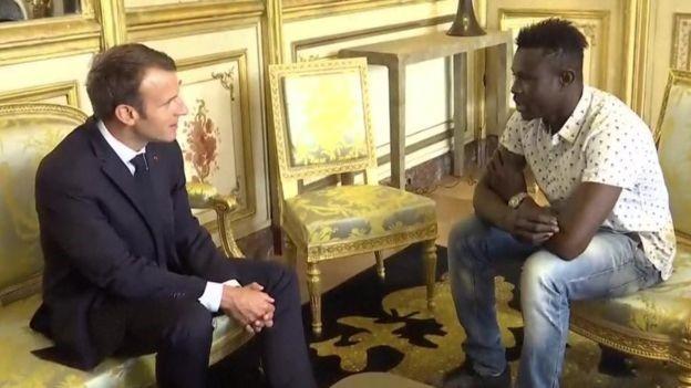 President Emmanuel Macron and Gassama