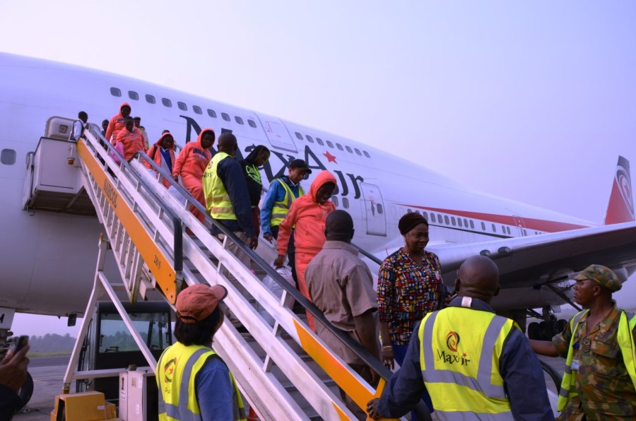 File Phoo: Presidential aide on Diaspora, Abike Dabiri Erewa, leads Nigerian Libya returnees