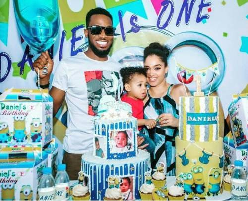 Dbanj, deceased son and wife during the kids one year birthday last month