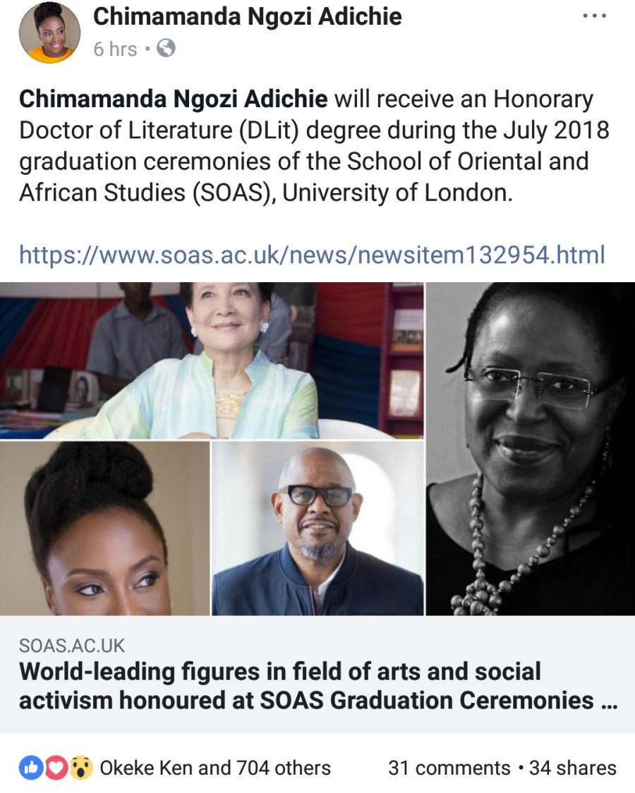 Adichie's post