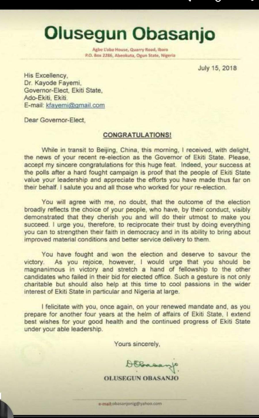 Obasanjo letter to Fayemi