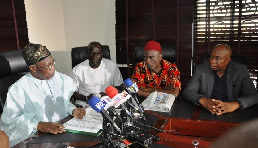 : From left: Minister of Information and Culture, Alhaji Lai Mohammed; Managing Director, Authority Newspapers, Mr. Madu Onuoha; Executive Director Publication/Service, Authority Newspapers, Joe Nwankwo and the Executive Director, Business Development of the newspapers, Chuks Akunna when the Minister visited the corporate headquarters of the Authority Newspapers to flag off the media tour on the campaign against fake news in Abuja on Monday.