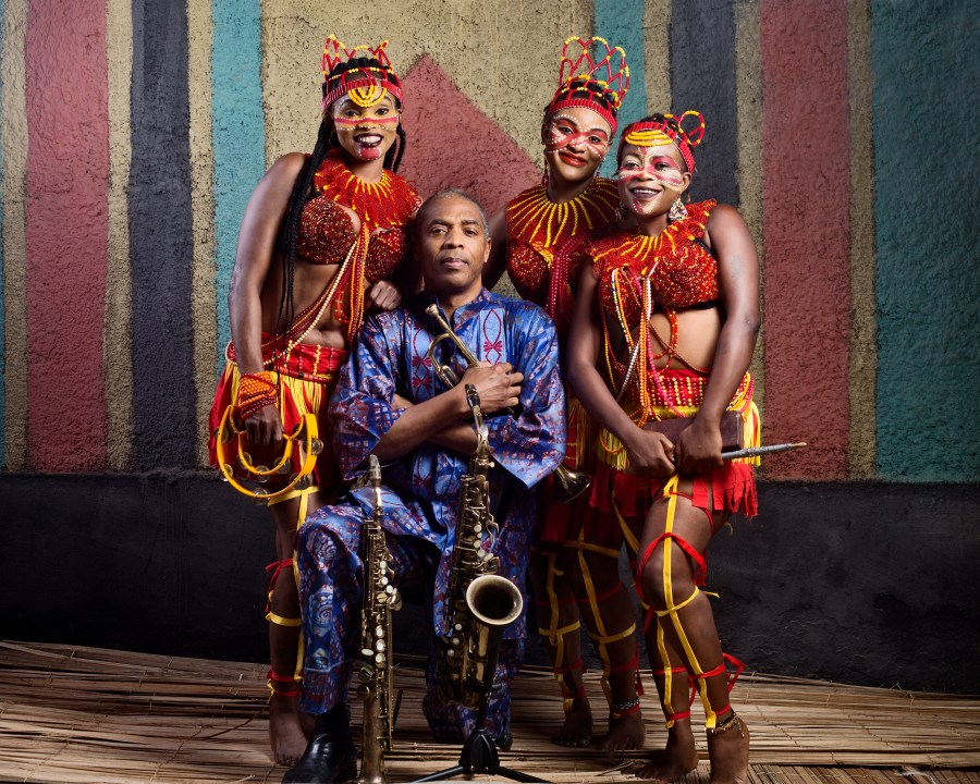Femi Kuti, at the centre, flanked by his dancers