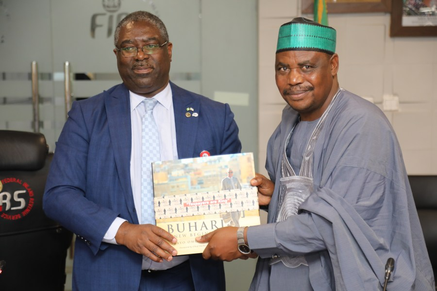 L-R Executive Chairman, FIRS, Tunde Fowler and Chairman, Bauchi Internal Revenue Board, Jibrin Hussain Jibo during Jibrin courtesy visit to FIRS on Wednesday. Photo credit/FIRS