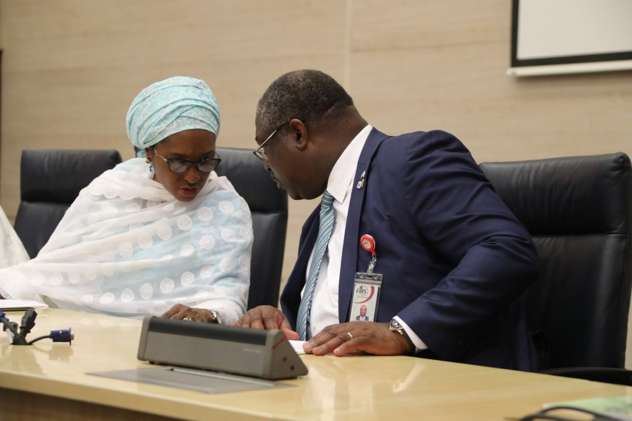L-R; Finance Minister, Zainab Shamsuna Ahmed and FIRS Chairman, Tunde Fowler during the inauguration of new Commissioners of Tax Appeal Tribunal in Abuja on Monday