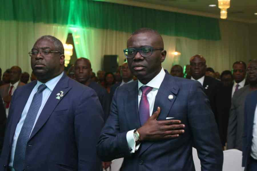 L-R: Executive Chairman of Nigeria's top tax authority, Tunde Fowler and Governor of Lagos State, Babajide Sanwo-Olu at the TIN flag-off in Lagos. Source/FIRS