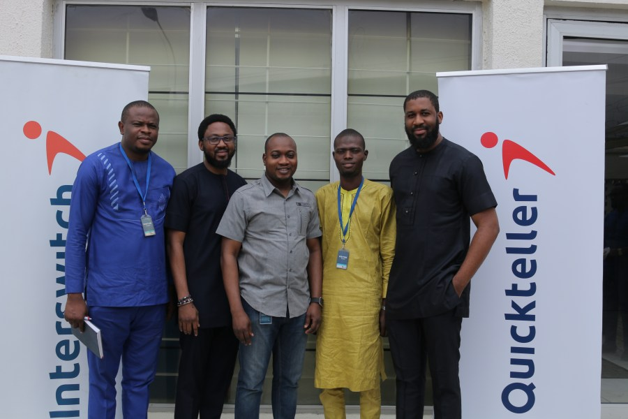 (L-R) Uche Nebolisa, Senior Accountant, National Lottery Regulatory Commission (NLRC); Emeka Awagu, Group Head, Commerce and Digital, Interswitch; Olawale Akanbi, Group Head of Marketing, Quickteller; Onifade Abideen, Account officer II, Federal Competition and Consumer Protection Commission (FCCPC) and Kevin Okoli, Marketing Manager, One Africa at the raffle draw for the One Music Africa Fest held at Interswitch Head office, Lagos recently