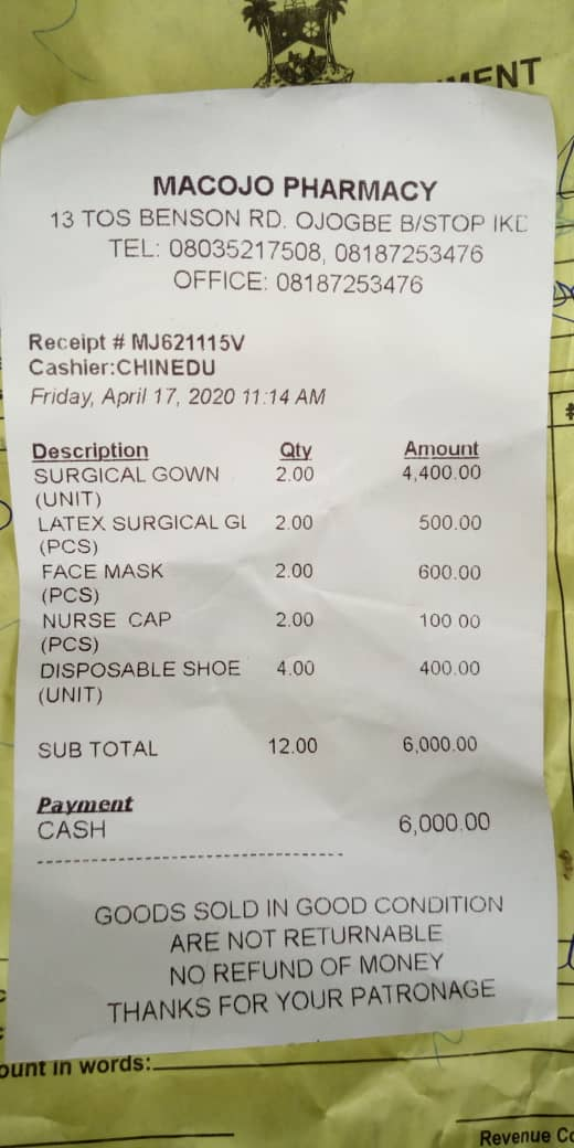 PPE receipt