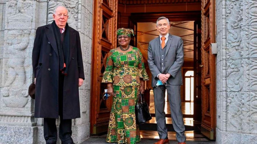 New Director-General of the World Trade Organisation Ngozi Okonjo-Iweala (centre) poses for a photo with WTO Deputy Directors-General Alan Wolff (left) and Karl Brauner upon her arrival at the WTO headquarters to take office on March 1, 2021 in Geneva. PHOTO | AFP
