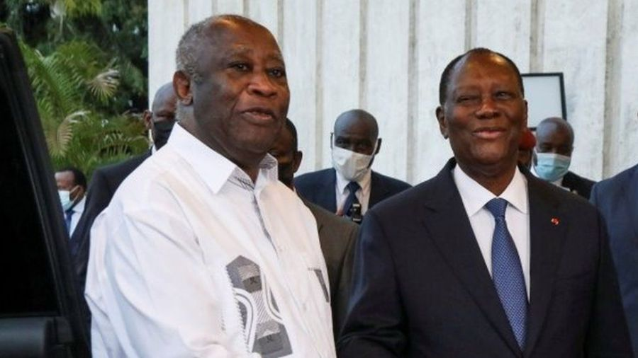 Former president Laurent Gbagbo (left) and President Alassane Ouattara (right) have been pushing for reconciliation