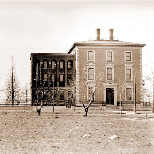 Bald cypress (left) in 1902 before the completion of the addition to Henry Shaw's townhome.